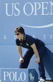 Line judge during second round match between Serena Williams and Galina Voskoboeva at US Open 2013 — Stock Photo