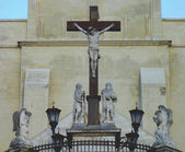 Crucifix statue outside of Avignon Cathedral in France — Stock Photo