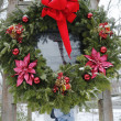 Stock Photo: Christmas wreath in memory of fallen firefighter Gregory Saucedo in Brooklyn, NY