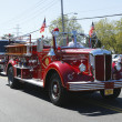 1950 Mack fire truck from Huntington Manor Fire Department leading firetrucks parade in Huntington, New York — Stock Photo #37928735