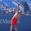 Stock Photo: Professional tennis player Janko Tipsarevic practices for US Open 2013 at Billie JeKing National Tennis Center