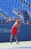 Professional tennis player Janko Tipsarevic practices for US Open 2013 at Billie Jean King National Tennis Center — Stock Photo