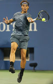 Twelve times Grand Slam champion Rafael Nadal during second round match at US Open 2013 against Rogerio Dutra Silva at Arthur Ashe Stadium — Stock Photo