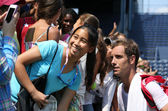 Professional tennis player Richard Gasquet from France taking picture with fan after practice for US Open 2013 at Billie Jean King National Tennis Center — Stock Photo