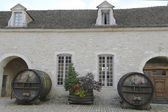 An old painted wine barrels in Chateau de Pommard, Burgundy, France — Stock Photo