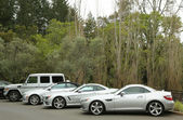 Mercedes-Benz cars presented as part of the Mercedes-Benz Drive Program in Meadowood Hotel in St. Helena — Stock Photo