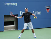 Two times Grand Slam champion Lleyton Hewitt practices for US Open 2013 at Arthur Ashe Stadium at Billie Jean King National Tennis Center — Stock Photo