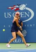 Professional tennis player Agnieszka Radwanska during first round match at US Open 2013 against Silvia Soler-Espinosa at Billie Jean King National Tennis Center — Stock Photo