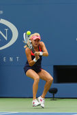 Professional tennis player Agnieszka Radwanska during first round match at US Open 2013 against Silvia Soler-Espinosa at Billie Jean King National Tennis Center — Stock Photo