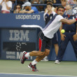 Professional tennis player Janko Tipsarevic during fourth round match at US Open 2013 against David Ferrer at Billie Jean King National Tennis Center — Stock Photo #38827663