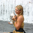 US Open 2006 champion MariSharapovholds US Open trophy after her win ladies singles final — Stock Photo #38829047