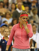 Two times Grand Slam champion Victoria Azarenka in tears after she lost final match at US Open 2013 against Serena Williams at Billie Jean King National Tennis Center — Stock Photo