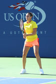 Professional tennis player Flavia Pennetta from Italy practices for US Open 2013 at Arthur Ashe Stadium — Stock Photo
