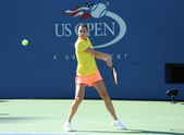 Professional tennis player Flavia Pennetta from Italy practices for US Open 2013 at Arthur Ashe Stadium — Стоковое фото