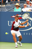 Professional tennis player Richard Gasquet during first round match at US Open 2013 against Michael Russell at Billie Jean King National Tennis Center — Stock Photo