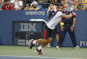 Professional tennis player Janko Tipsarevic during fourth round match at US Open 2013 against David Ferrer at Billie Jean King National Tennis Center — Stock Photo