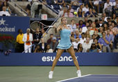 Professional tennis player Camila Giorgi during third round match at US Open 2013 against Caroline Wozniacki at Billie Jean King National Tennis Center — Stock Photo