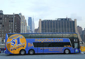 Megabus in midtown Manhattan — Stock Photo