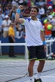 Professional tennis player David Ferrer after his win third round match at US Open 2013 against Mikhail Kukushkin at Billie Jean King National Tennis Center — Стоковое фото