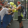 Two times Grand Slam champion Victoria Azarenka signing autographs after practice for US Open 2013 at Billie Jean King National Tennis Center — Photo