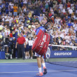 Seventeen times Grand Slam champion Roger Federer leaving stadium after loss in fourth round match at US Open 2013 against Tommy Robredo at Billie Jean King National Tennis Center — Stok fotoğraf
