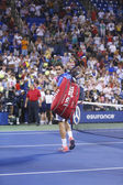 Seventeen times Grand Slam champion Roger Federer leaving stadium after loss in fourth round match at US Open 2013 against Tommy Robredo at Billie Jean King National Tennis Center — Stock Photo