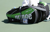 Bob Bryan tennis bag at USTA Billie Jean King National Tennis Center during US Open 2013 — Stock Photo