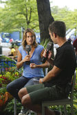 French former professional tennis player and a former World No. 1 Amelie Mauresmo during interview with Eurosport at US Open 2013 — Stock Photo
