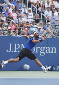 Professional tennis player Marcos Baghdatis during third round match at US Open 2013 against Stanislas Wawrinka at Louis Armstrong Stadium — Stock Photo