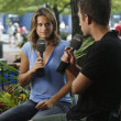 French former professional tennis player and a former World No. 1 Amelie Mauresmo during interview with Eurosport at US Open 2013 — Stok fotoğraf