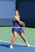 Professional tennis player Dominika Cibulkova during first round match at US Open 2013 against Elina Svitolina at Billie Jean King National Tennis Center — Стоковое фото