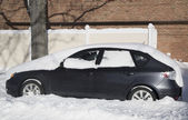 Car under snow in Brooklyn, NY after massive Winter Storm Janus strikes Northeast — Stock Photo