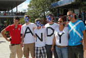 Andy Murray's fans ready for men final match at US OPEN 2012 at Billie Jean King National Tennis Center — Stock Photo