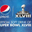 Pepsi Official Soft Drink of Super Bowl XLVIII billboard on Broadway during Super Bowl XLVIII week in Manhattan — Stock Photo #39672659