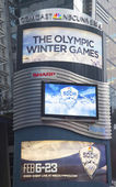 Comcast NBC Universal billboard decorated with Sochi 2014 XXII Olympic Winter Games logo near Times Square in Midtown Manhattan — Stock Photo