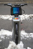 Citi bike under snow near Times Square in Manhattan — Stock Photo
