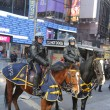 Stock Photo: NYPD police officers on horseback ready to protect public on Broadway during Super Bowl XLVIII week in Manhattan