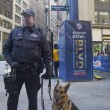 Stock Photo: NYPD transit bureau K-9 police officer and K-9 GermShepherd providing security on Broadway during Super Bowl XLVIII week in Manhattan