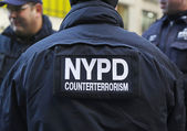 NYPD counter terrorism officers providing security on Times Square during Super Bowl XLVIII week in Manhattan — Stock Photo