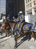 NYPD police officers on horseback ready to protect public on Broadway during Super Bowl XLVIII week in Manhattan — Stock Photo