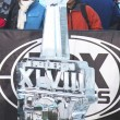 Ice carved Super Bowl XLVIII logo presented on Broadway at Super Bowl XLVIII week in Manhattan — Stock Photo