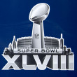 Stock Photo: Super Bowl XLVIII logo presented on Broadway at Super Bowl XLVIII week in Manhattan