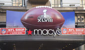 Giant Football at Macy s Herald Square on Broadway during Super Bowl XLVIII week in Manhattan — Stock Photo