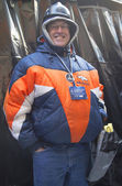 Unidentified Denver Broncos fan on Broadway during Super Bowl XLVIII week in Manhattan — Stok fotoğraf