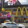 Stock Photo: NYPD car providing security at Times Square in New York