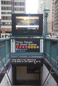 Times Square 42 St Subway Station entrance in New York — Stock Photo