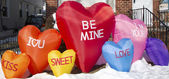 Valentine's Day color balloons of hearts outdoor decoration — Zdjęcie stockowe