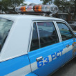 Vintage NYPD Plymouth police car on display — Foto de stock #41185007