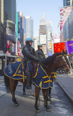 NYPD police officers on horseback ready to protect public on Times Square during Super Bowl XLVIII week in Manhattan — Stock Photo