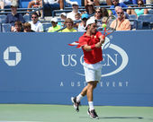 Professional tennis player Roberto Bautista Agut during second round match at US Open 2013 against David Ferrer at Louis Armstrong Stadium — Stock Photo